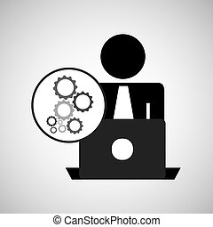 silhouette programmer working laptop gears vector...