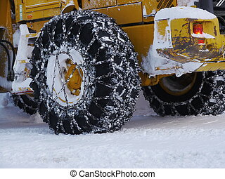 tyre snow chain - ice chains on tires. Industrial security...