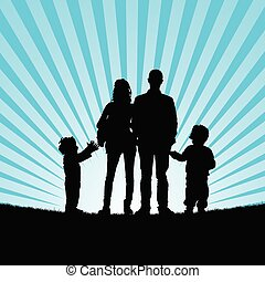 family with happy children in beauty nature silhouette...