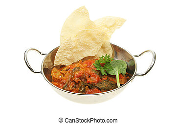 Curry and puppodoms - Curry and pappadoms in a balti dish