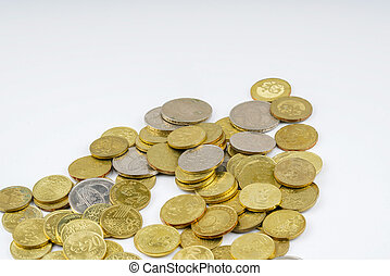 Coins - Yellow coins with white background