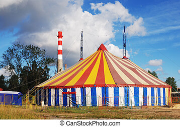 striped circus tent, white, red, blue, yellow