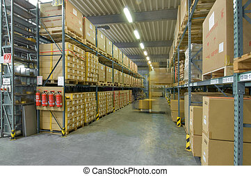 Storage depot with forklift in motion