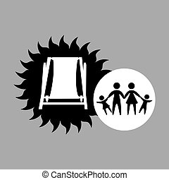silhouette family vacation chair break beach vector...