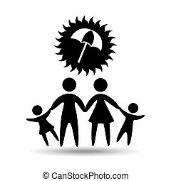silhouette family vacation umbrella protection vector...