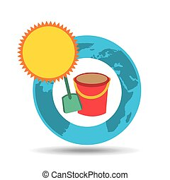 vacation around world sunny sand bucket vector illustration...