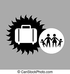 silhouette family vacation suitcase icon vector illustration...