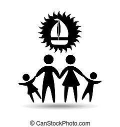 silhouette family vacation sail a boat vector illustration...