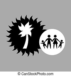 silhouette family vacation coconut tree vector illustration...