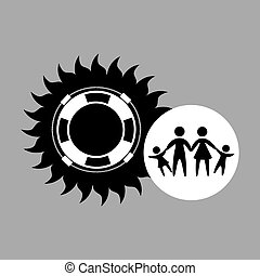 silhouette family vacation lifebuoy icon vector illustration...