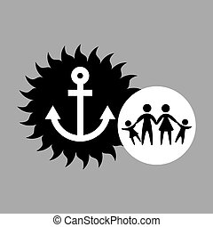 silhouette family vacation sailor anchor vector illustration...