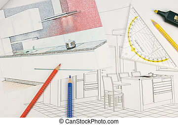 Built-in-kitchen - Plan scribble of a modern...