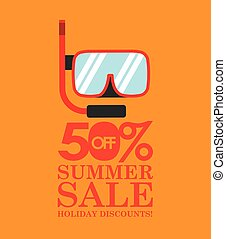 summer sale 50 discounts with snorkeling vector illustration...