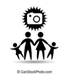 silhouette family vacation photo camera vector illustration...