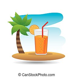 tropical vacation beach cocktail bar vector illustration eps...