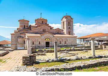 Church of St. Panteleimon in Ohrid in a beautiful summer...