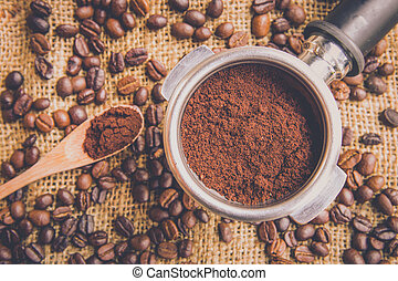 coffee - Fill coffee powder into port filter with coffee...