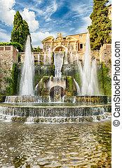 Tivoli, Itália, Netuno,  d'este, chafariz, vila