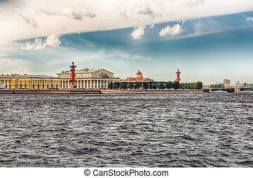 cuspir, ilha,  ST,  vasilievsky,  Petersburg,  rússia, vista