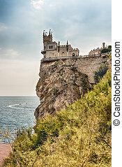 ninho, panorâmico, sobre, pretas, mar, crimea, castelo,...