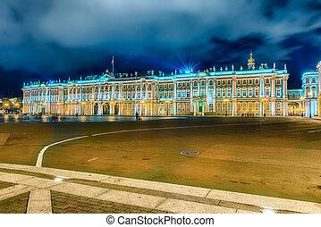 Inverno, eremitério, ST, Palácio, Museu, façade, Petersburg,...