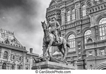 marshal, estátua, estado, zhukov, exterior, histórico,...