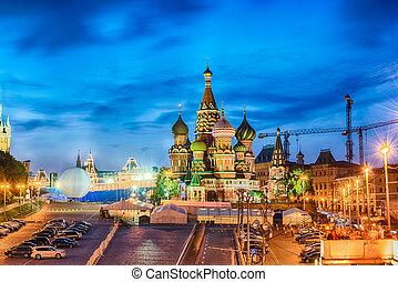anoitecer, quadrado, panorâmico, Moscou, rússia, vermelho,...