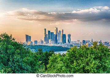 cidade, centro, negócio, panorâmico, Moscou, internacional,...