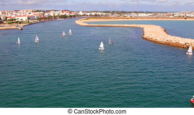 Aerial from sailing in the harbor from Lagos in the Algarve...