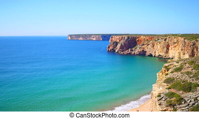 Aerial from rocks and ocean near Sagres in Portugal