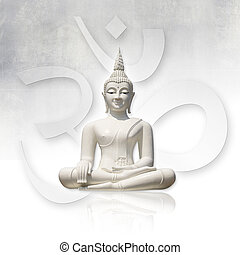 Buddha, isolated clipping path - Isolated white buddha...