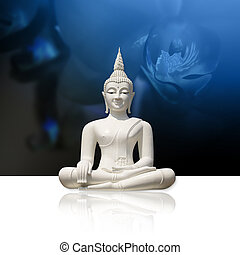 Buddha, isolated (clipping path) - White buddha statue,...