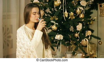 Beautiful woman drinking champagne - Beautiful woman...