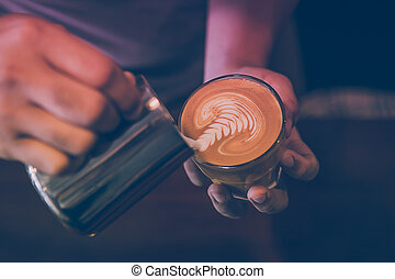 coffee - Selective focus latte art coffee rosetta tehcnician...