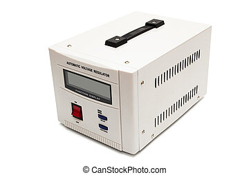 voltage stabilizer - modern voltage stabilizer on a white...