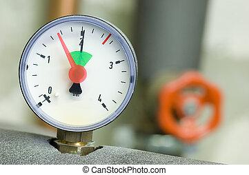 Pressure gauge on a boiler