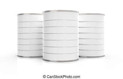 Blank metal can, 3D rendering milk powder container isolated...