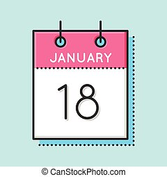 Vector Calendar Icon. Flat and thin line vector...