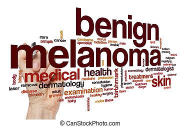 benigno, palabra,  melanoma, nube