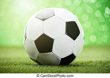 Football On Grassy Field - Close-up Photo Of Football On...