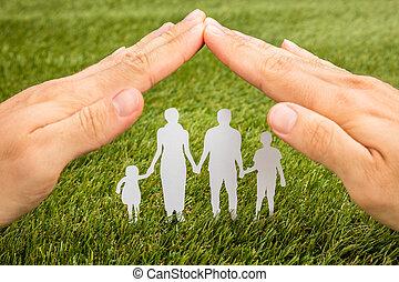 Pessoa, mão, família,  papercut, protegendo