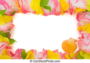 Colorful lei with seashell isolated on white, happy holidays