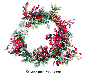 Christmas wreath decoration with snow pine cones and...