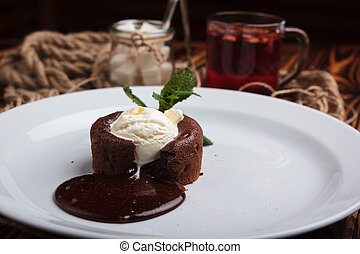 Chocolate fondant and ice cream - Concept: restaurant menus,...