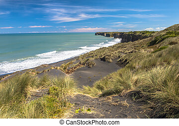 Dunes and Black Sand Beach near New Plymouth, New Zealand -...