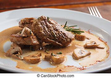 Pork medallions with mushroom sauce