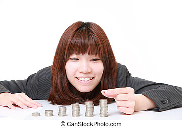 Increase of profits - concept shot of young Japanese...