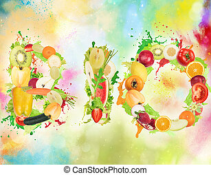 Healthy Bio food for wellness - Fruit and vegetables forming...