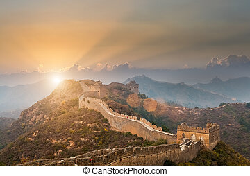 the great wall in sunset - the great wall of china with a...