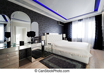 modern bedroom - beautiful and modern bedroom with mirrored...